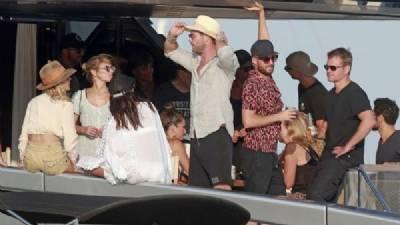 Chris Hemsworth, Elsa Pataky, Matt Damon and Luciana Barroso seen on Ibiza yacht