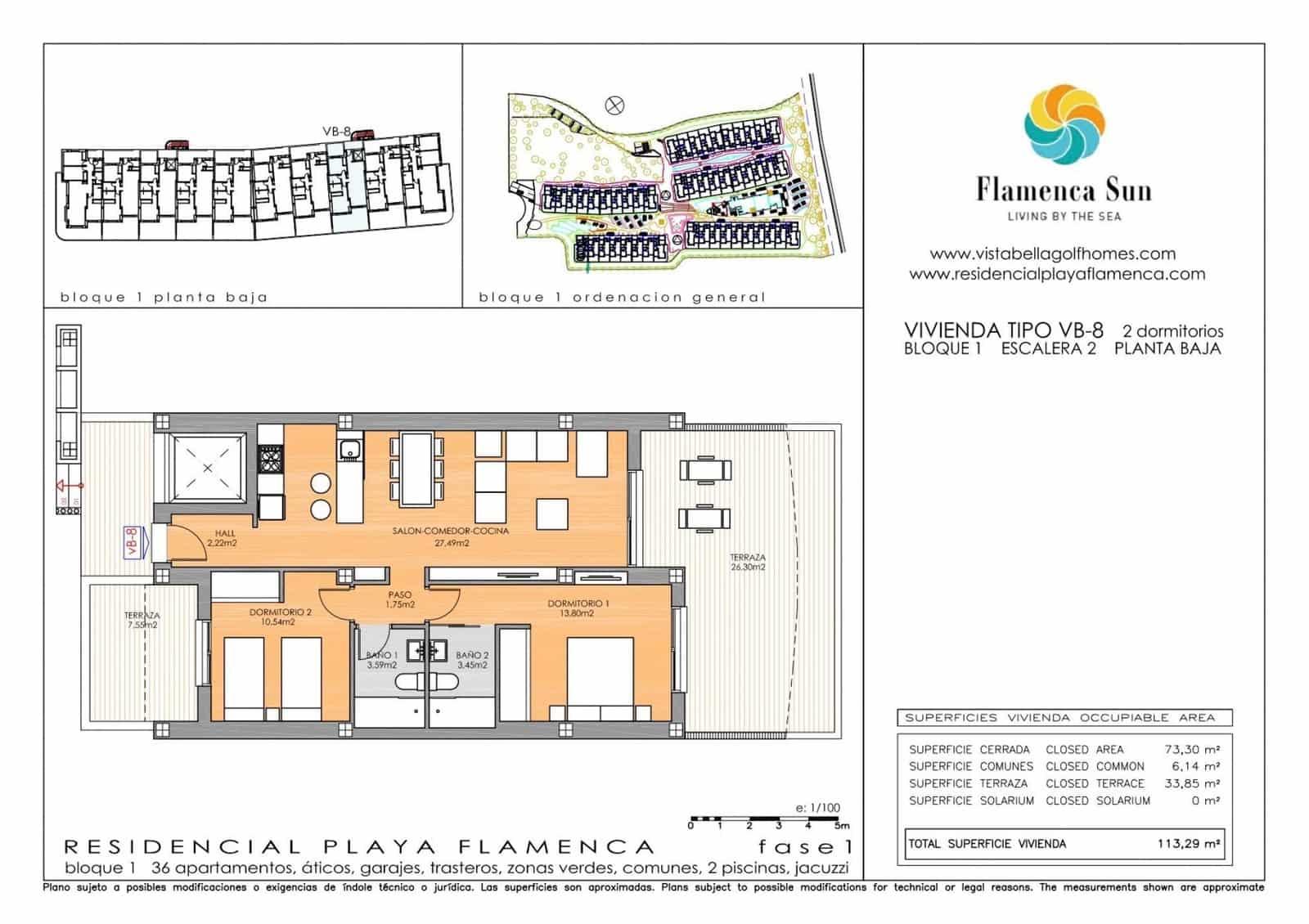 Apartamento de 2 habitaciones en Playa Flamenca en venta con garaje - 177.900 € (Ref: 5072642)