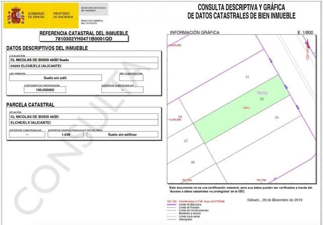Byggetomt til salgs i Torrellano - € 285 000 (Ref: 5014819)