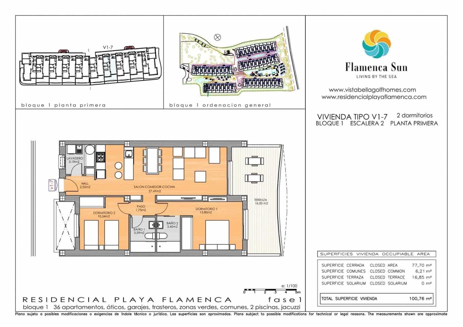 Apartamento de 2 habitaciones en Playa Flamenca en venta con piscina - 185.900 € (Ref: 5058727)