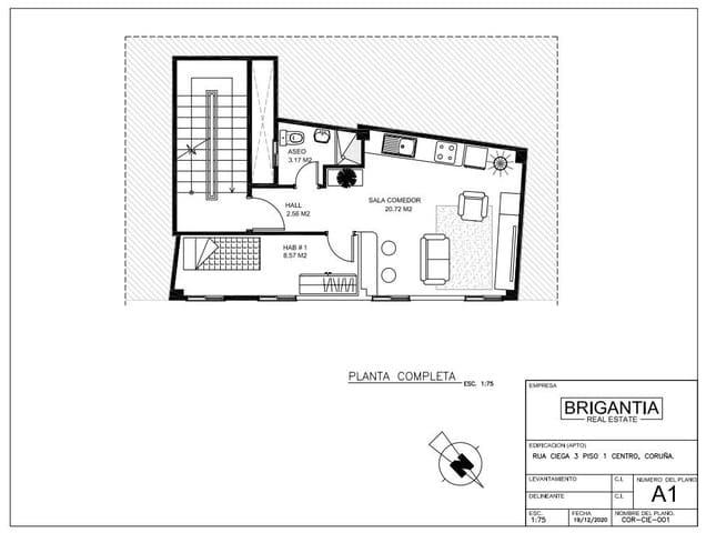 1 sovrum Kommersiell till salu i A Coruna stad - 155 000 € (Ref: 5803212)